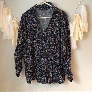 Zara Blue Floral Popover Long Sleeve Blouse